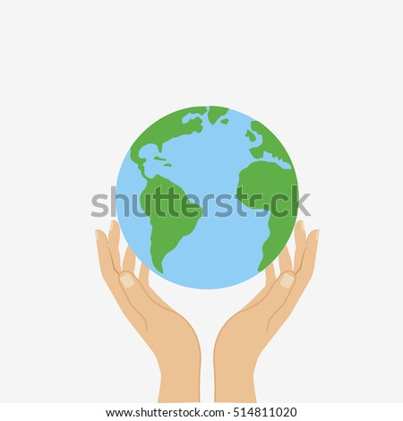 Globe of Earth holding on hands. Peace, ecology, save world. Flat vector illustration
