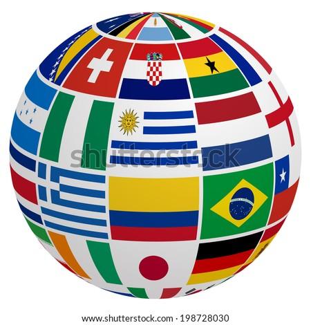 Globe of soccer team flag - stock vector