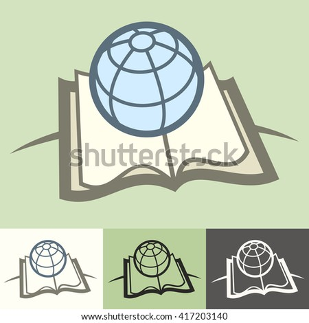 Globe on book science concept vector illustration. Education element. book and map for studying - stock vector