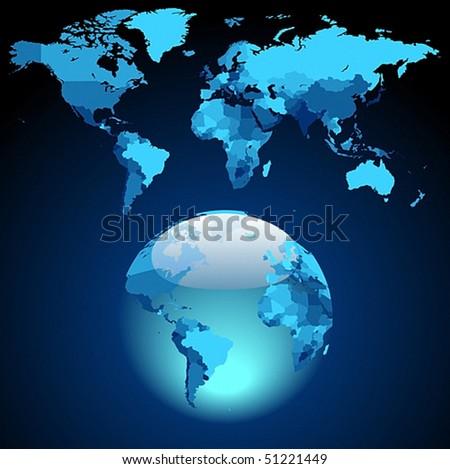 Globe on dark blue World map. Vector illustration. - stock vector