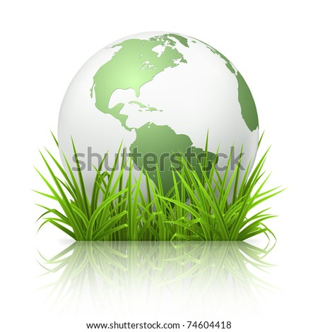 Globe on grass, 10eps - stock vector