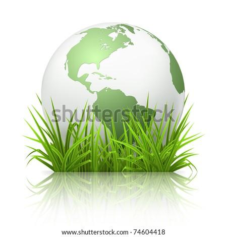 Globe on grass, 10eps - stock vector