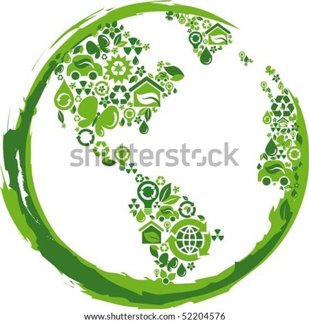 globe outline compose of green  ecological icons - stock vector