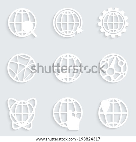 Globe paper white icons with shadows