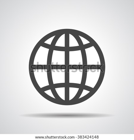 globe planet icon on a grey background - stock vector