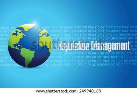 globe reputation management sign illustration design over a blue binary background - stock vector