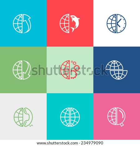 Globe set. Flat color vector icons. - stock vector
