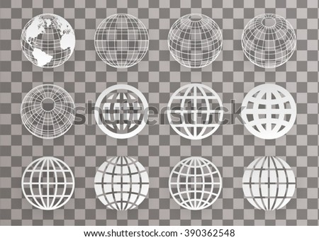 globe set on transparency - stock vector