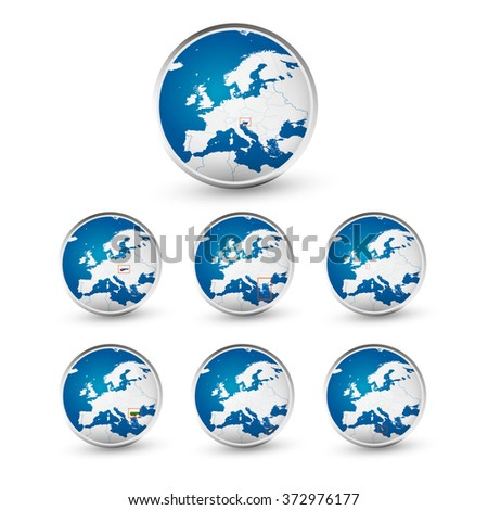 Globe set with EU countries World Map Location Part 4. All elements are separated in editable layers clearly labeled.