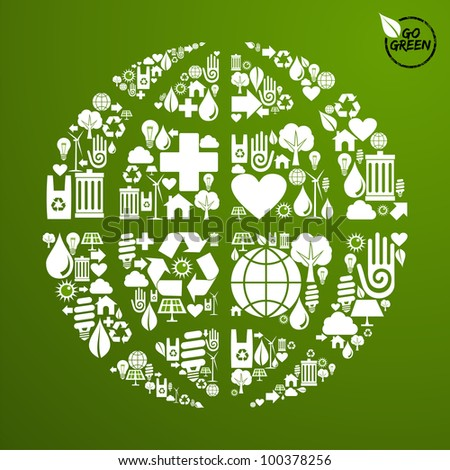 Globe shape in green icons set background. Vector file available.