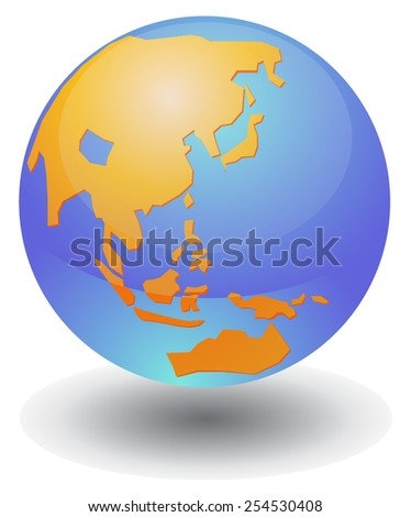 Globe showing Asia and Middle East - stock vector
