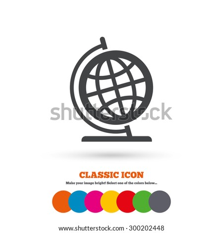 Globe sign icon. Geography symbol. Globe on stand for studying. Classic flat icon. Colored circles. Vector - stock vector