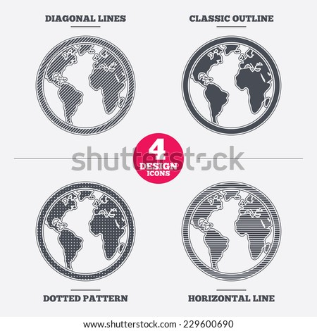 Globe sign icon world map geography stock vector 229600690 world map geography symbol diagonal and horizontal lines classic outline gumiabroncs Choice Image