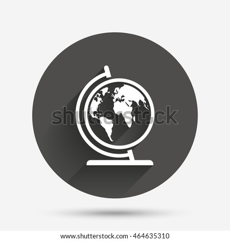 Globe sign icon world map geography stock vector 464635310 world map geography symbol globe on stand for studying circle gumiabroncs Gallery