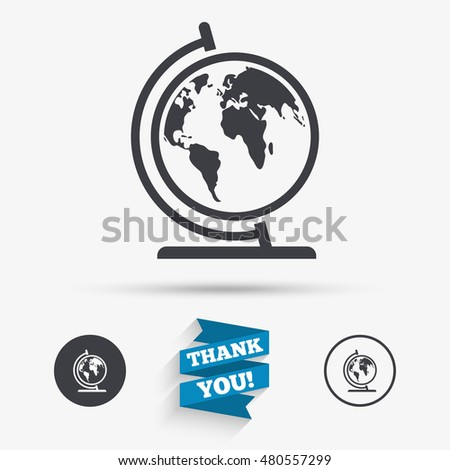 Globe sign icon world map geography stock vector 480557299 globe sign icon world map geography symbol globe on stand for studying flat gumiabroncs Gallery