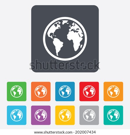 Globe sign icon. World map geography symbol. Rounded squares 11 buttons. Vector - stock vector