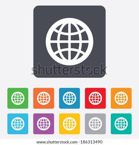 Globe sign icon. World symbol. Rounded squares 11 buttons. Vector - stock vector