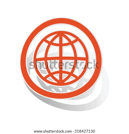 Globe sign sticker, orange circle with image inside, on white background - stock vector