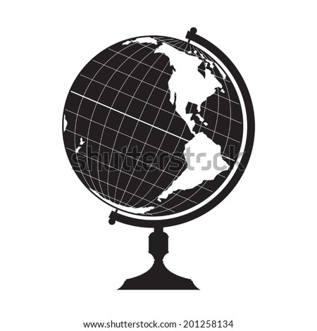 Globe silhouette - stock vector