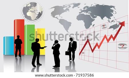 globe stats - stock vector