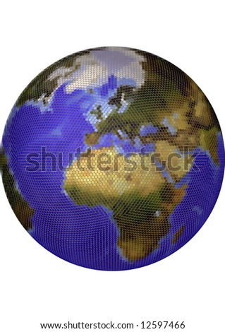 Globe. Stylized 3D vector map, built from colored dots. Centered on Europe, colored according to vegetation. Background allows tonal adjustments. - stock vector
