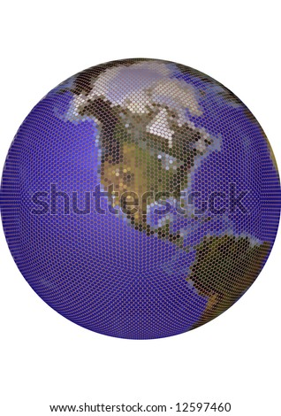 Globe. Stylized 3D vector map, built from colored dots. Centered on North America, colored according to vegetation. Background allows tonal adjustments. - stock vector