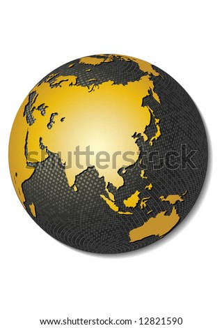 Globe. Stylized 3D vector map, centered on Asia. - stock vector