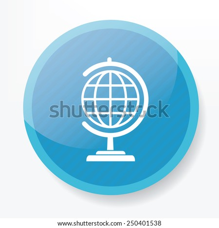 Globe symbol design on blue button,clean vector - stock vector