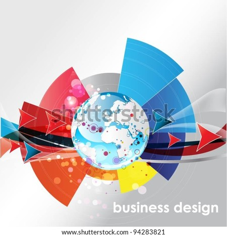 globe vector background with arrows - stock vector