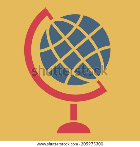 Globe, vector, flat icon (from set Back to school) - stock vector