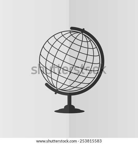 Globe vector icon. Effect of folded paper. Flat design
