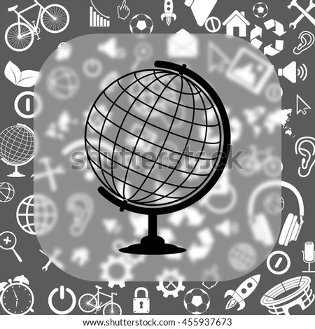 globe vector icon - matte glass button on background consisting of different icons