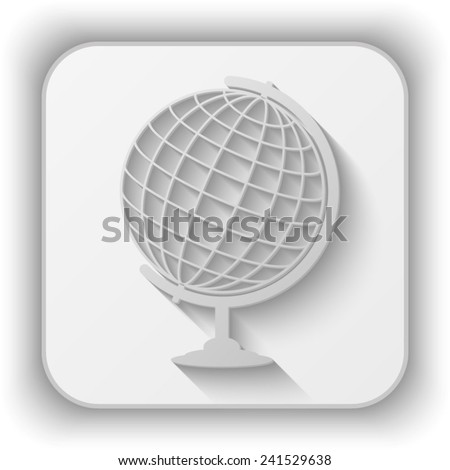 globe vector icon - paper button