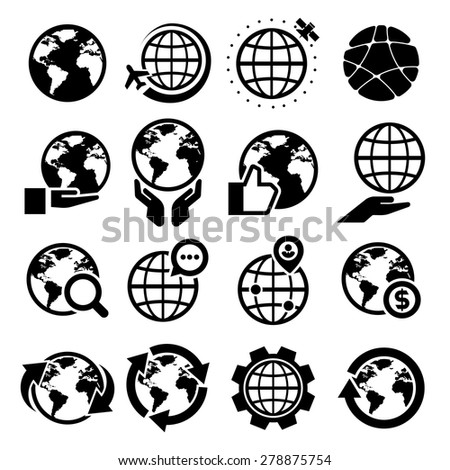 Globe vector icons set. Elements of this image furnished by NASA