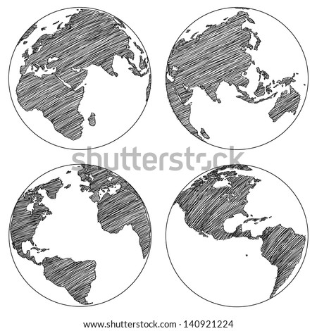Globe Vector Line Sketched Up Illustrator, EPS 10. - stock vector