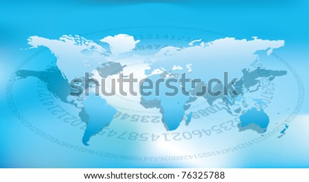 globe- vector world map and blue background - stock vector