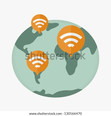 globe wireless connections network - stock vector