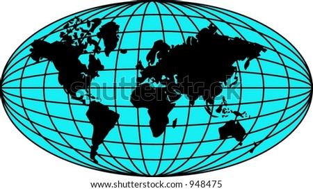Globe with black silhouette of the continents - stock vector