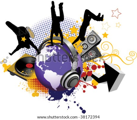 Globe with dancing youth men. Music city. - stock vector