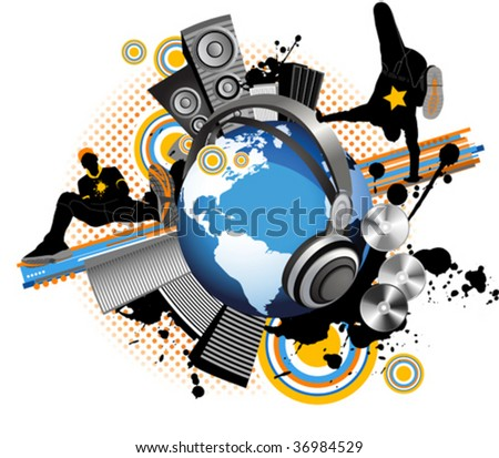 Globe with dancing youth men. Music city. All elements and textures are individual objects. Vector illustration scale to any size. - stock vector