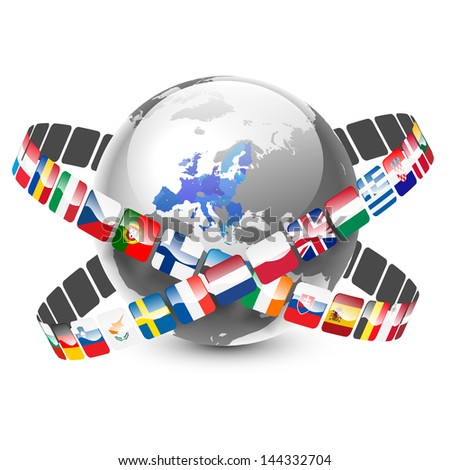 globe with 28 european union countries and flags - stock vector