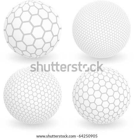 Globe with hexagon signs. Vector illustration. - stock vector