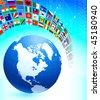 Globe with Many Flag Banner Original Vector Illustration - stock vector