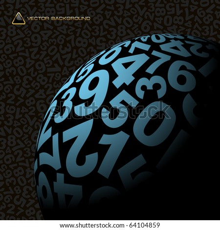 Globe with number mix. Vector illustration. - stock vector