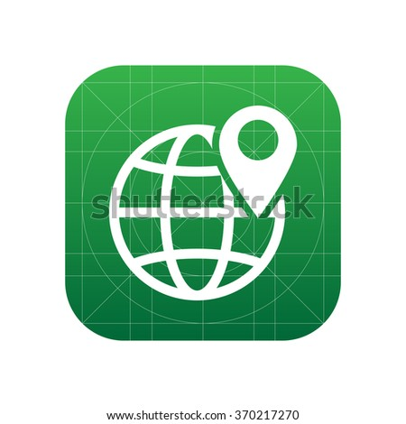 Globe with pin icon - stock vector