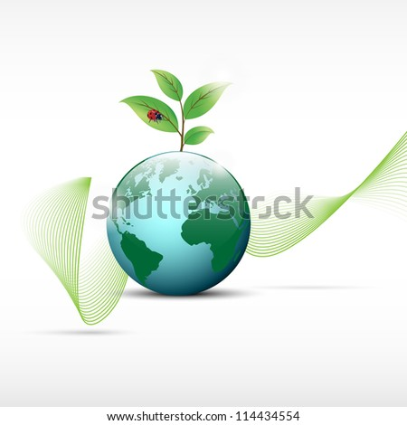 Globe with plant and ladybug on top with abstract lines in background. - stock vector