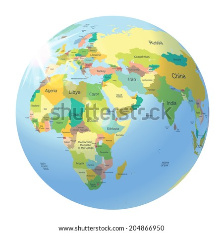 World map countries globe planet earth vectores en stock 523349092 globe with political world map isolated on white gumiabroncs Gallery