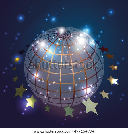 Globe with stars in blue background, vector