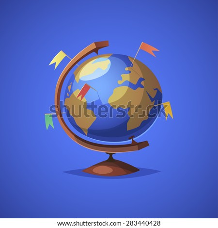 Globe with targets. Isolated object \ background. - stock vector