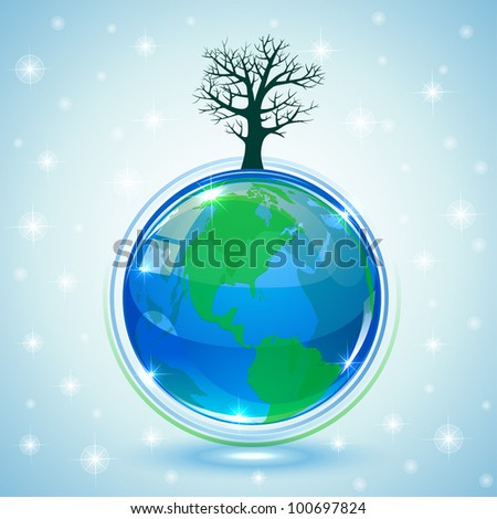 Globe with tree on blue background, illustration - stock vector